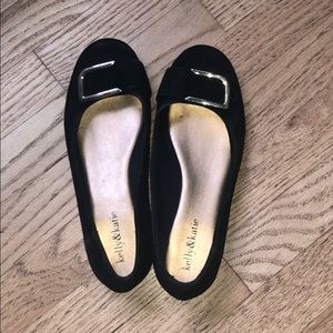 Black suede flats with buckle